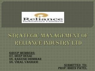 Strategic management of reliance industry ltd