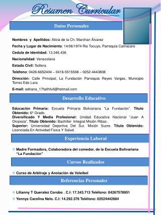 Nombres  y  Apellidos:  Alicia de la Ch. Marchan Álvarez