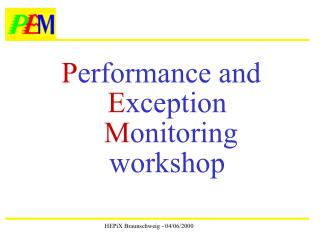P erformance and  E xception M onitoring workshop