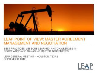 LEAP POINT OF VIEW: MASTER AGREEMENT MANAGEMENT AND NEGOTIATION