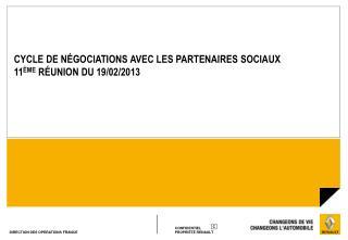 CYCLE DE NÉGOCIATIONSAVEC LES PARTENAIRES SOCIAUX  11 ÈME  R É UNION DU 19/02/2013