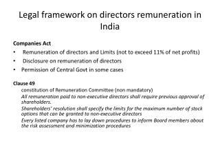 Legal framework on directors remuneration in India