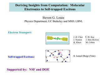Deriving Insights from Computation:  Molecular Electronics to Self-trapped Excitons
