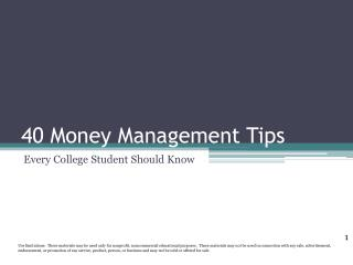 40 Money Management Tips