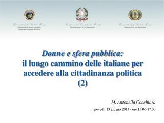 Donne e sfera pubblica: il lungo cammino delle italiane per accedere alla cittadinanza politica