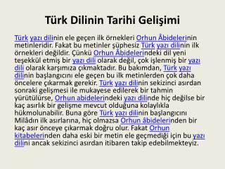 Türk Dilinin Tarihi Gelişimi