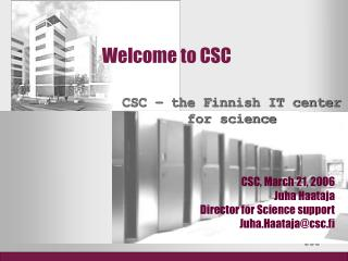 Welcome to CSC