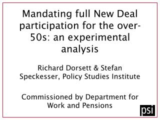 Mandating full New Deal participation for the over-50s: an experimental analysis