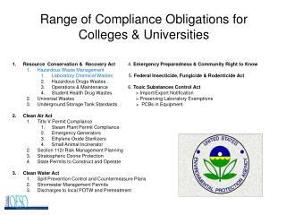 Range of Compliance Obligations for Colleges  Universities