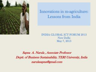 Innovations in m-agriculture: Lessons from  I ndia