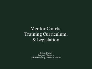 Mentor Courts,  Training Curriculum,  & Legislation