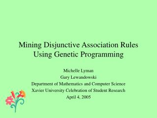 Mining Disjunctive Association Rules Using Genetic Programming