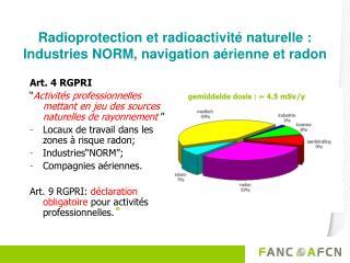 Radioprotection et radioactivité naturelle : Industries NORM, navigation aérienne et radon