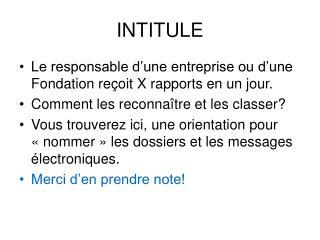 INTITULE