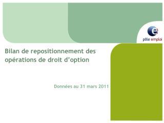 Bilan de repositionnement des opérations de droit d'option Données au 31 mars 2011