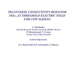 TRANSVERSE CONDUCTIVITY BEHAVIOR NbSe 3  AT THRESHOLD ELECTRIC FIELD FOR CDW SLIDING