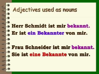 Adjectives used as nouns