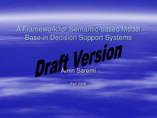 A Framework for Semantic-based Model Base in Decision Support Systems