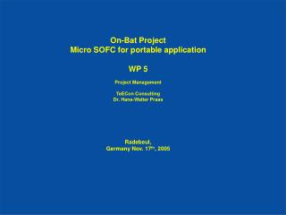 On-Bat Project Micro SOFC for portable application WP 5 Project Management  TeECon Consulting