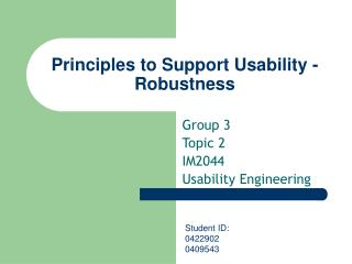 Principles to Support Usability - Robustness