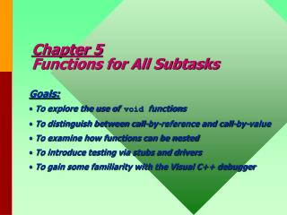 Chapter 5 Functions for All Subtasks