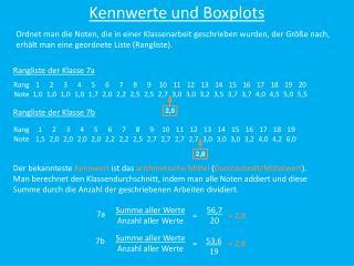 Kennwerte und Boxplots