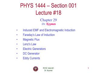 PHYS 1444 – Section 001 Lecture #18