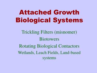 Attached Growth Biological Systems