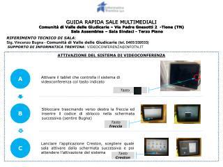 Attivare il tablet che controlla il sistema di videoconferenza col tasto indicato