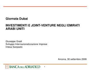 Giornata Dubai  INVESTIMENTI E JOINT-VENTURE NEGLI EMIRATI ARABI UNITI