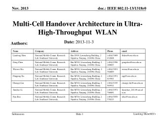Multi-Cell Handover Architecture in Ultra-High-Throughput  WLAN