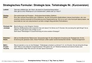 Strategisches Formular: Strategie bzw. Teilstrategie Nr. (Kurzversion)