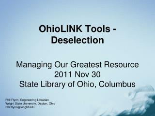 OhioLINK Tools - Deselection