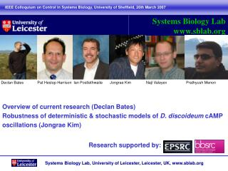 Overview of current research (Declan Bates)
