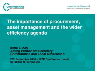 The importance of procurement, asset management and the wider efficiency agenda