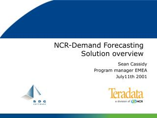 NCR-Demand Forecasting  Solution overview