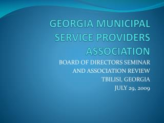GEORGIA MUNICIPAL SERVICE PROVIDERS ASSOCIATION