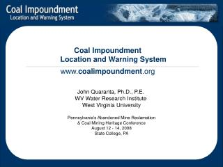 Coal Impoundment  Location and Warning System  coalimpoundment