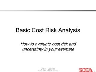 Basic Cost Risk Analysis
