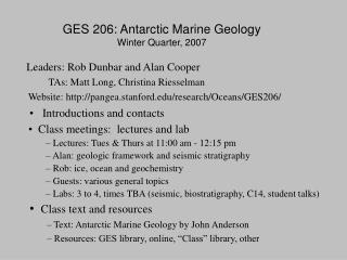GES 206: Antarctic Marine Geology Winter Quarter, 2007