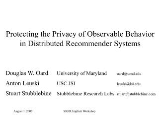 Protecting the Privacy of Observable Behavior in Distributed Recommender Systems