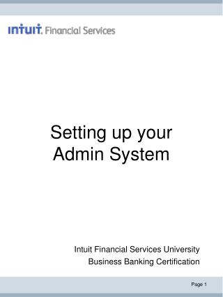 Setting up your Admin System