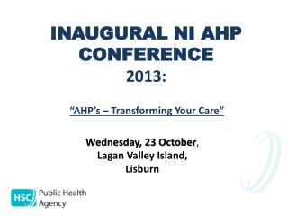 INAUGURAL NI AHP CONFERENCE 2013:
