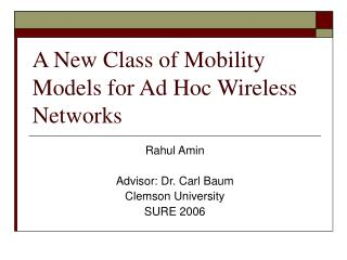 A New Class of Mobility Models for Ad Hoc Wireless Networks