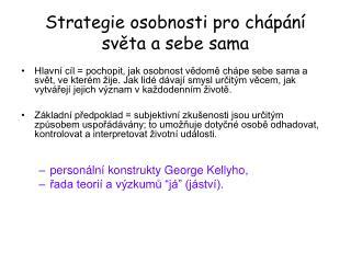 Strategie osobnosti pro chápání světa a sebe sama