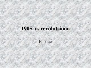 1905. a. revolutsioon