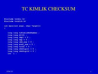 TC KIMLIK CHECKSUM