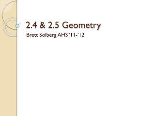 2.4 & 2.5 Geometry