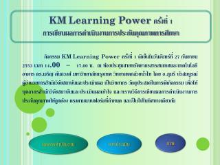 KM Learning Power  ครั้งที่ 1  การเขียนผลการดำเนินงานการประกันคุณภาพการศึกษา