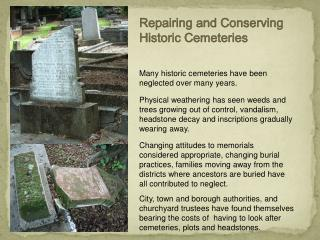 Repairing and Conserving Historic Cemeteries
